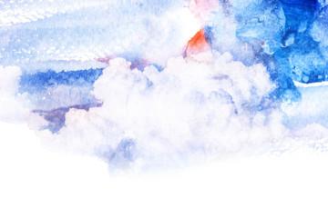 Fotobehang Schilderingen Watercolor illustration of cloud.