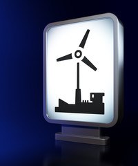 Manufacuring concept: Windmill on billboard background