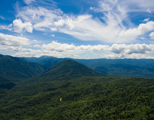 Aerial photo. Mountain valley. Summer landscape with mountain