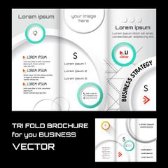 brochure folder leaflet geometric circle abstract element blue color background