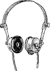 Vintage drawing headphones