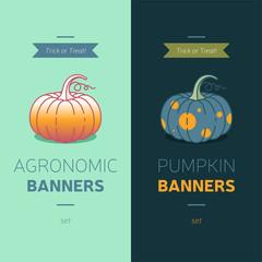 pumpkin logo, Pumpkin Halloween Party Card, harvest vector icons, vegetable garden logo, agronomy vector logo, market garden logo, Halloween attributes, agriculture pumpkin vector icons