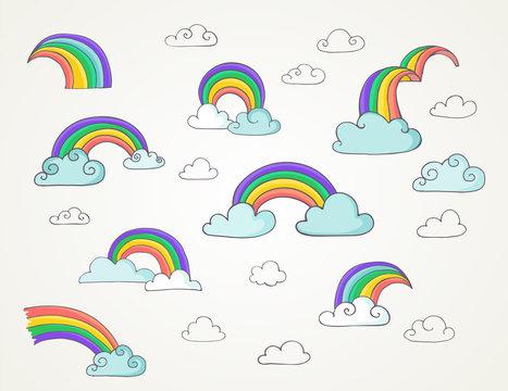 Rainbow - cute set of hand drawn vector illustrations