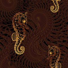 Golden Sea horse seamless pattern