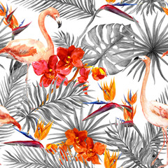 Flamingo, tropical leaves, exotic flowers. Seamless black-white background. Watercolor