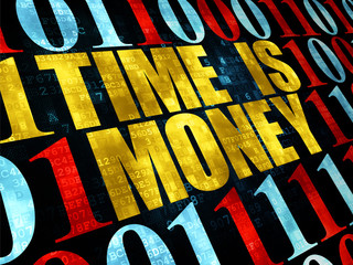 Business concept: Time is Money on Digital background