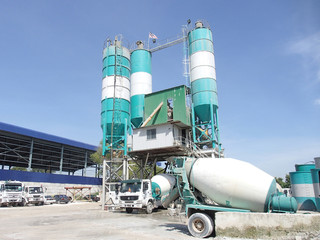 Concrete batching plant at the construction site. Concrete mix with additive with various grade produced here.