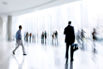 group of people in the lobby business center