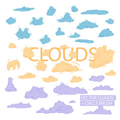 circle cloud brushes, icon ink clouds set, vector ink icons clouds, sky vector illustration brushes, cloud vector illustration brush, spiral outline vector clouds, vector ink clouds set