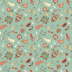 Vector flower pattern. Seamless botanic texture, detailed flowers illustrations.
