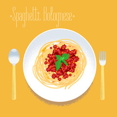 Spaghetti, Italian pasta vector design element for menu, poster