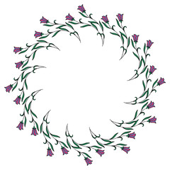 Color round frame with bluebells. Vector clip art.