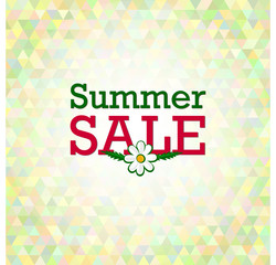 Vector summer sale design template with colorful polygonal background.