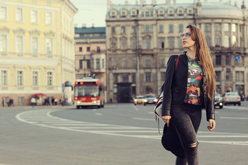 Portrait of a young woman in St. Petersburg, Russia Tourism