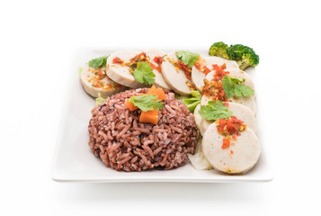 preserved pork sausage and spicy sauce with berry rice