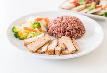 roast pork with berry rice