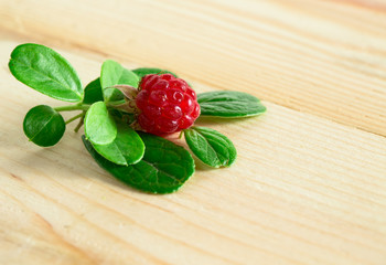 border of fresh berries mix on wooden tabletop with copy space