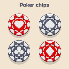 Vector Poker Chips, suit in vector icon