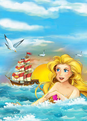Cartoon ocean and the mermaid - illustration for children