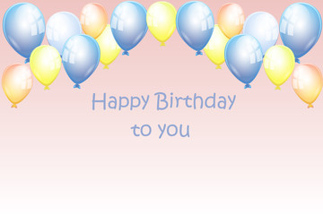 birthday card banner with the baloons