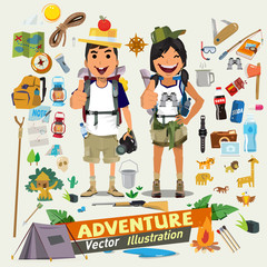 Couple adventure character design with survial icon kit. Adventu