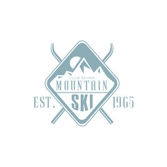 Mountain Ski Emblem Design