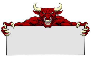 Bull Sports Mascot Sign