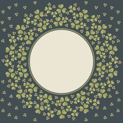 Round frame with Clover leaves for St. Patrick's day