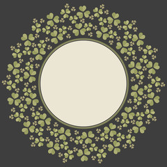 Stylish circle frame with Clover leaves for St. Patrick's day