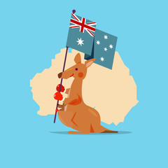 Kangaroo and baby handle Australia flag with map in background.