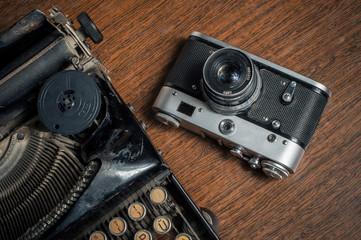 Old Typewriter and retro camera