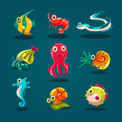 Cute Sea Life Creatures Cartoon Animals Set