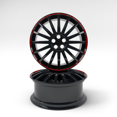 Aluminum black wheel image 3D high quality rendering. White picture figured alloy rim for car. Best used for Motor Show promotion or car workshop booklet or flyer design on white background.