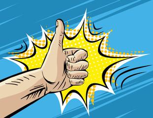 Like, Well, Fine, Hitchhiking journey Gesture. Pop art Comic retro style Vector Illustration. Imitation of old  Book . Superhero hand