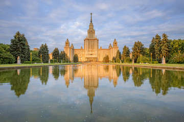 The main building of Moscow State University in the rays the rising sun in the morning