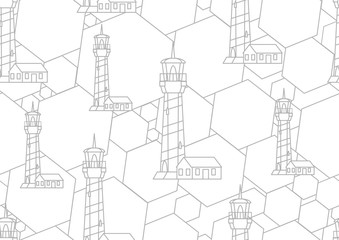 Vector geometric linear lighthouse seamless background pattern.