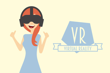 Red hair woman or girl wearing virtual reality headset.