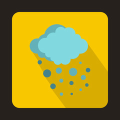 Cloud with hail icon in flat style on a yellow background