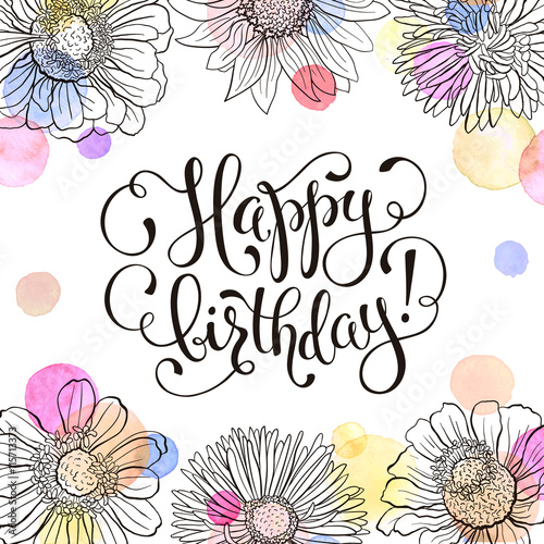Quot Happy Birthday Greeting Card Hand Drawn Flowers Frame