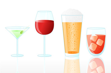 Collection of Drinks on White Background