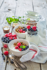 Breakfast - yogurt with berries and granola