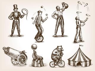Retro circus performance set sketch vector