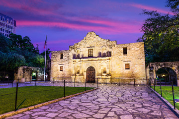 The Alamo in San Antonio, Texas, USA at Dawn.