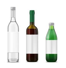 Bottle set. Green glass bottle template.