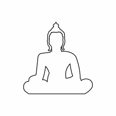 Statue of Buddha sitting in lotus pose icon in outline style isolated vector illustration