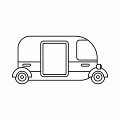 Thailand three wheel native taxi icon in outline style isolated vector illustration