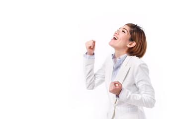 businesswoman shouting, speaking, looking up, studio isolated of