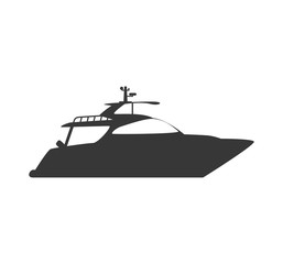 Transportation concept represented by yacht silhouette icon. Isolated and flat illustration