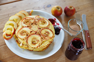 Pancake with Apples and Jam