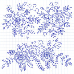 Doodle pattern with flower and leaves Vector background